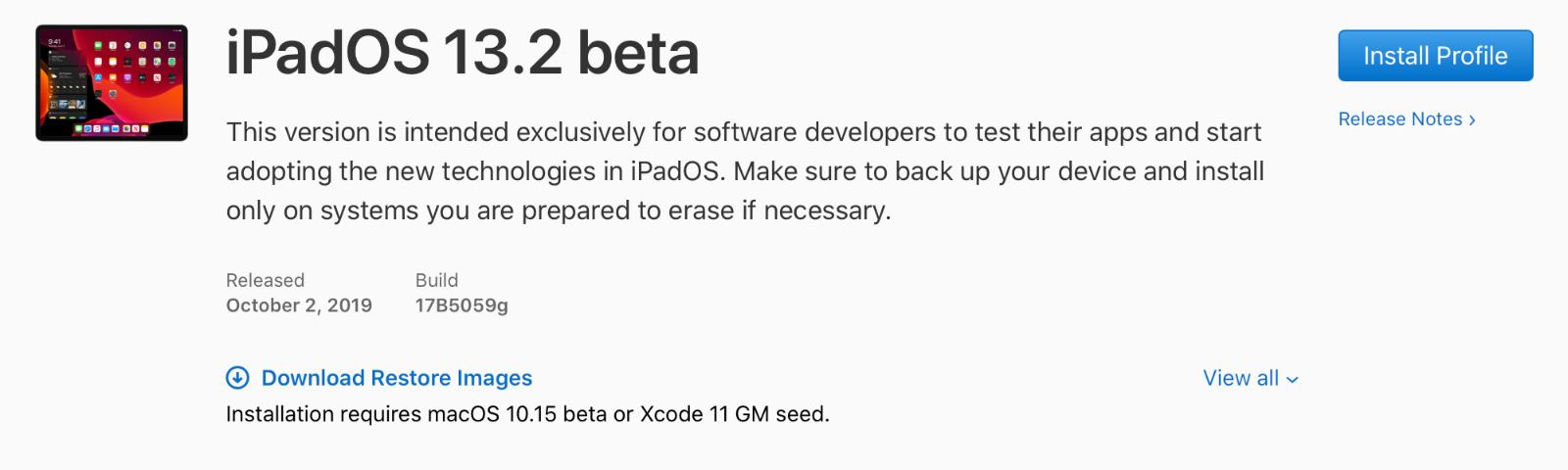 iPadOS 13.2 beta