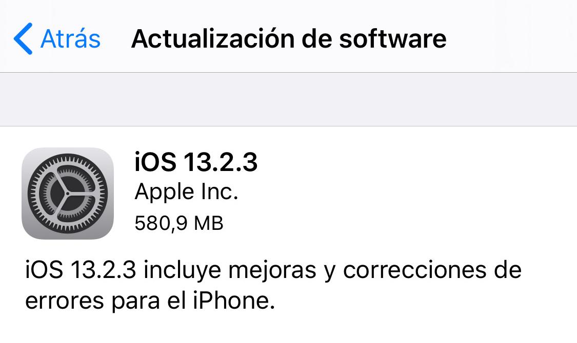 iOS 13.2.3 y iPadOS 13.2.3