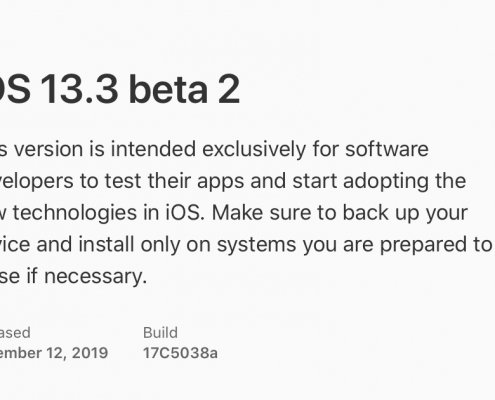 iOS 13.3 beta 2, iPadOS 13.3 beta 2, watchOS 6.1.1 beta 2 y tvOS 13.3 beta 2