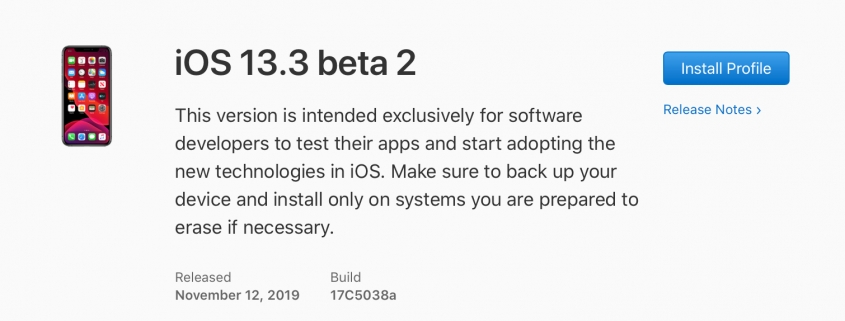 iOS 13.3 beta 2, iPadOS 13.3 beta 2, watchOS 6.1.1 beta 2 y tvOS 13.3 beta 2