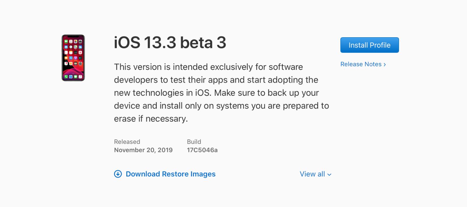 iOS 13.3 beta 3, iPadOS 13.3 beta 3, watchOS 6.1.1 beta 3 y tvOS 13.3 beta 3