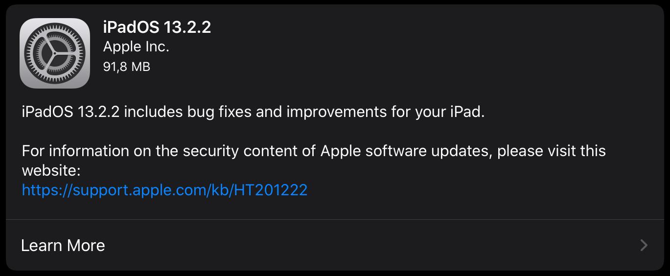 iPadOS 13.2.2