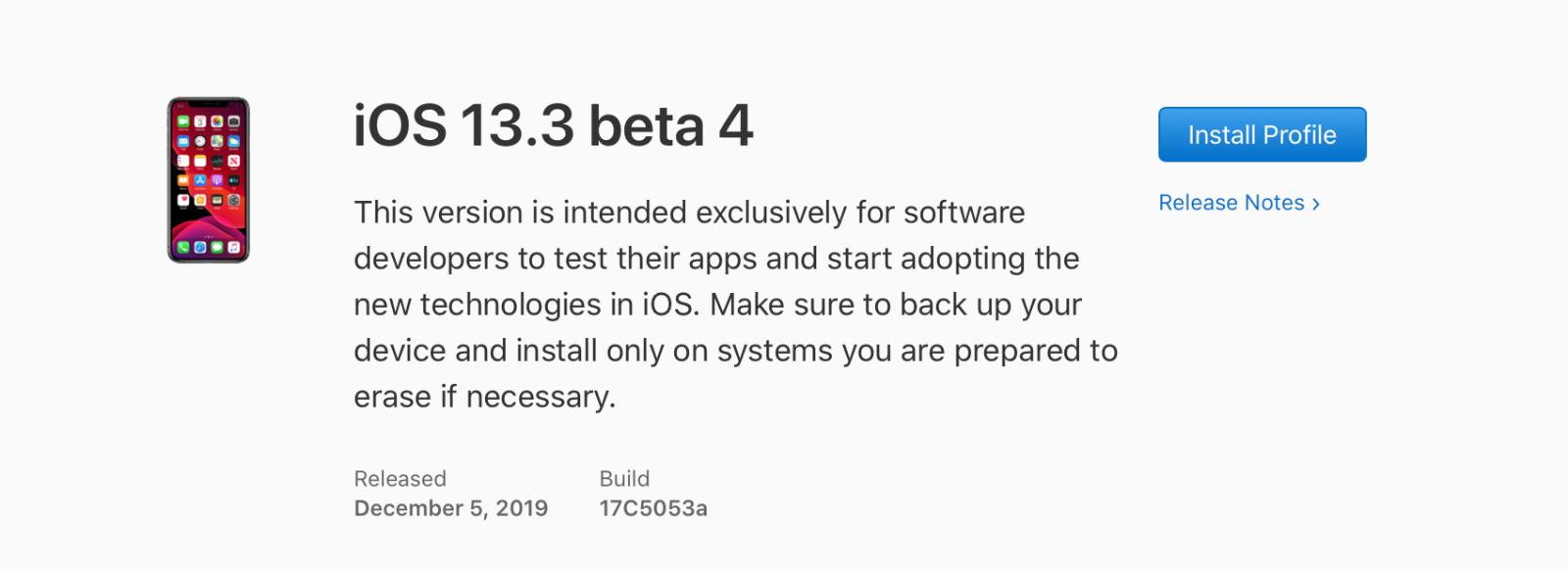 iOS 13.3 beta 4, iPadOS 13.3 beta 4, watchOS 6.1.1 beta 4 y tvOS 13.3 beta 4