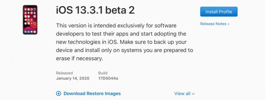 iOS 13.3.1 beta 2, iPadOS 13.3.1 beta 2, tvOS 13.3.1 beta 2 y watchOS 6.1.2 beta 2