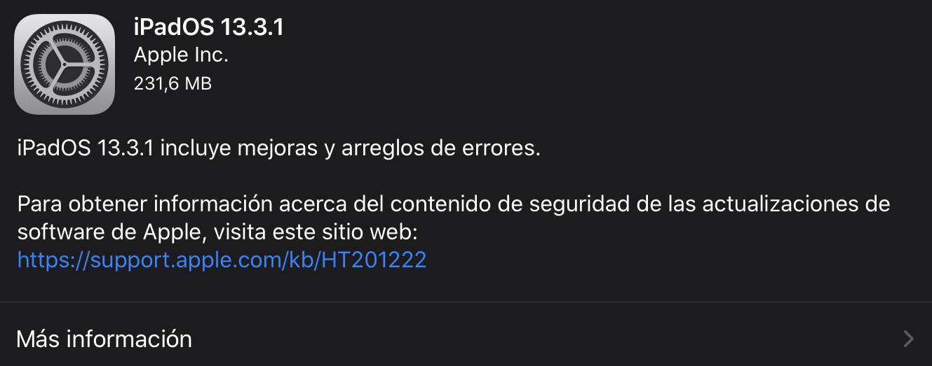 iPadOS 13.3.1