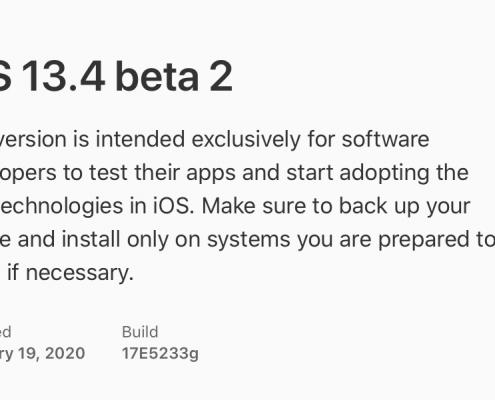 iOS 13.4 beta 2, iPadOS 13.4 beta 2, tvOS 13.4 beta 2, y watchOS 6.2 beta 2