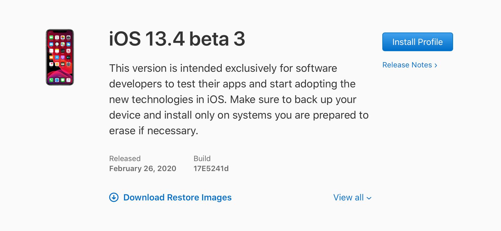 iOS 13.4 beta 3, iPadOS 13.4 beta 3, tvOS 13.4 beta 3, y watchOS 6.2 beta 3