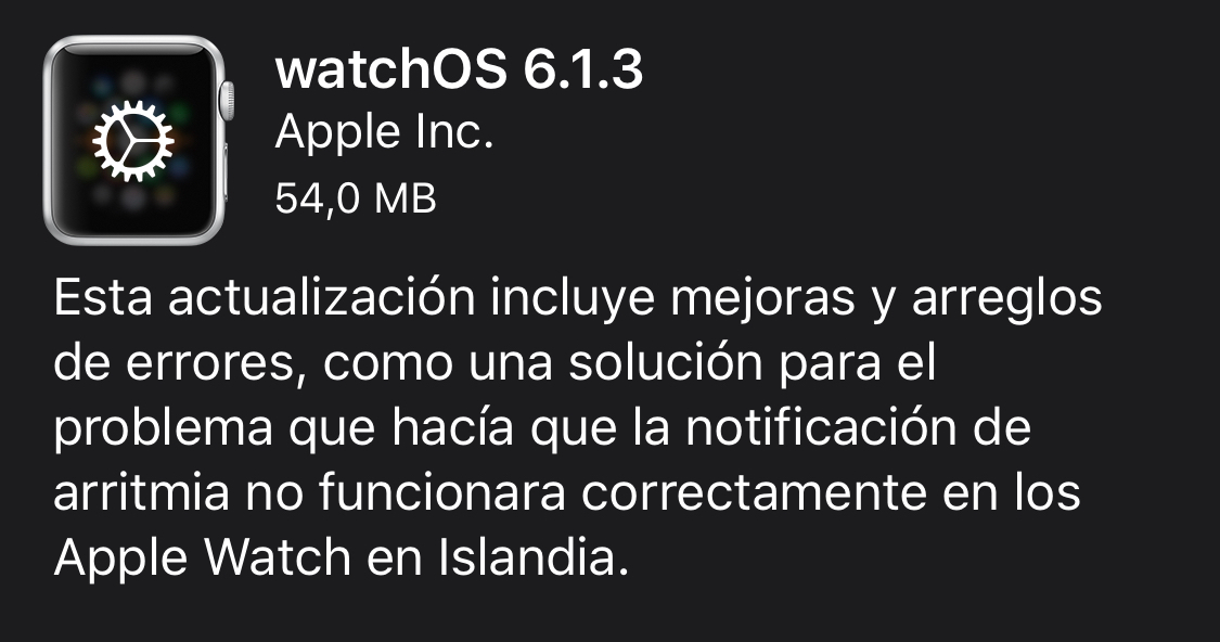 watchOS 6.1.3 y watchOS 5.3.5