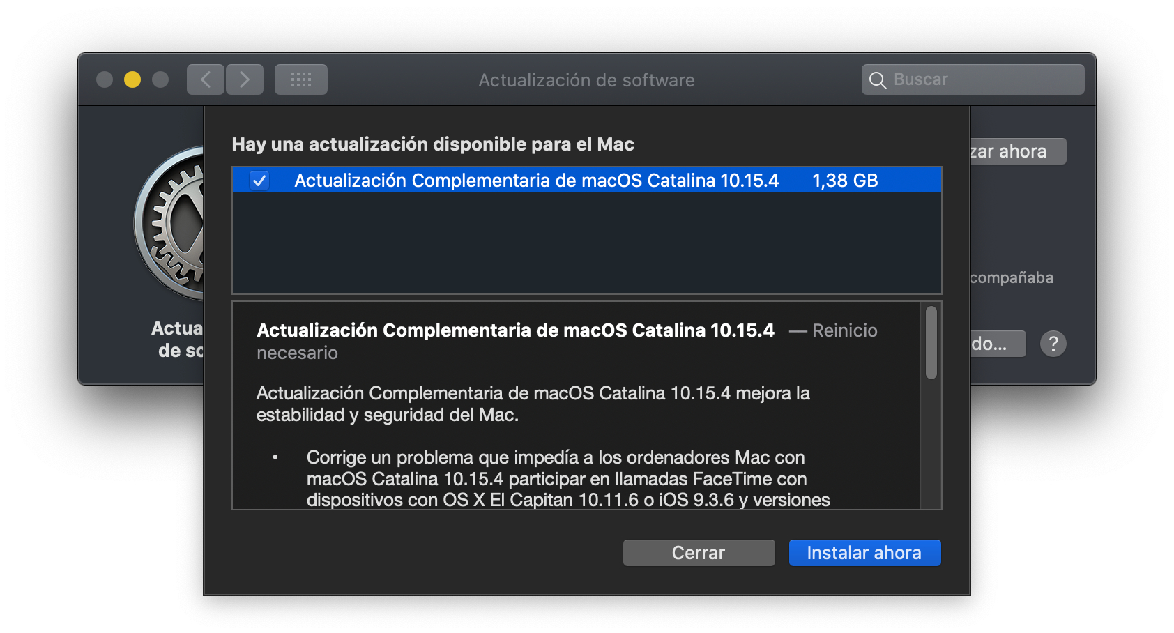 Actualización Complementaria de macOS Catalina 10.15.4